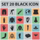 Part of the body, limb black icons in set collection for design. Human anatomy vector symbol stock web illustration. Part of the body, limb black icons in set Stock Photography