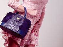 Part body woman in dress with bag. Stock Photos
