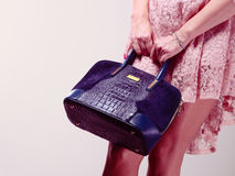 Part body woman in dress with bag. Stock Image