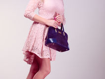 Part body woman in dress with bag. Royalty Free Stock Photography