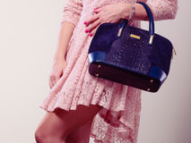 Part body woman in dress with bag. Royalty Free Stock Images