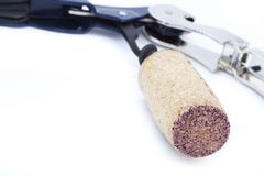 Cork on Bottle Opener Stock Photography