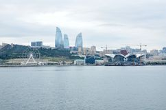 Part of the boulevard on the shore of the Caspian Sea in Baku.Coastal Park.Azerbaijan stock images