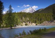 Bow river and cascade mountain Stock Photography