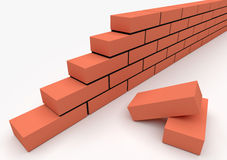 Part of brick wall. Concept of building and construction Stock Image