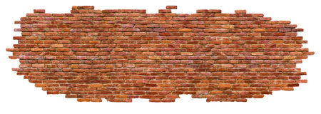 Part of a brick wall, isolated on white background royalty free stock image
