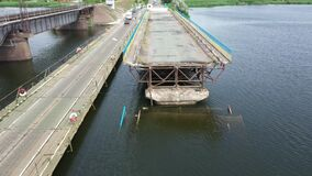 Ukraine, the city of Pokrov, part of the road bridge fell into the river.