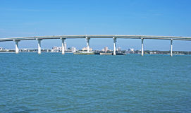 Part of a bridge in the Tampa Bay area. A section of the bridge that joins Clearwater and Bellair in the Tampa Bay area, FL Stock Image