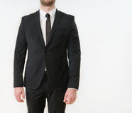 Part of business man body in black suit Stock Photography