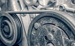 Part of car engine transmission belt. Closeup view Royalty Free Stock Photos