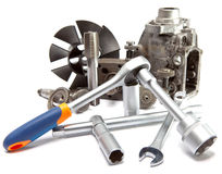 The part of car high pressure pump and the tool for repair royalty free stock image