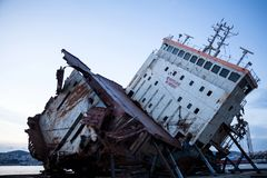 Part of a cargo shipwreck exterior, closeup . royalty free stock images