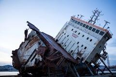 Part of a cargo shipwreck exterior, closeup . Part of a cargo shipwreck exterior, closeup background Royalty Free Stock Images