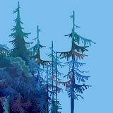 Part of a cartoon forest with fir trees in blue-green tones. Part of cartoon forest with fir trees in blue-green tones Royalty Free Stock Photography