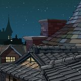 Part cartoon roofs from tile star night Royalty Free Stock Photo