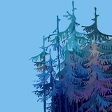 Part cartoonish forest of trees in shades of blue. Right Stock Image