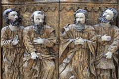 Part of carved wooden door Stock Images