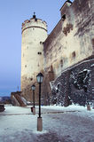 Part of castle Hohensalzburg in the winter Stock Photo