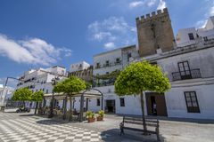 Part of the castle wall battlements. Vejer de la Frontera, Andalucia, Spain, July 2017: Part of the castle wall battlements of Vejer de la Frontera in Andalucia royalty free stock photography