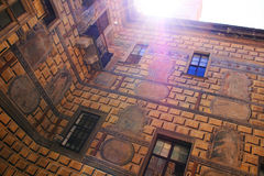 Part of Cesky Krumlov, Czech. Sun through building Stock Photos