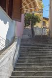 The architecture of Kavala. A small street of stairs. Greece. royalty free stock photos