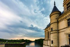 Part of Chateau de Chenonceau and river. Close up part of beautiful medieval castle Chateau de Chenonceau in France and river beside it royalty free stock photos