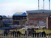 Part of chemical plant being demolished Royalty Free Stock Photography