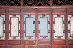 Part of Chinese closed wooden door Royalty Free Stock Photo