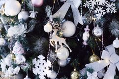 Part of the Christmas tree with toys close-up royalty free stock image