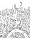 Part of city street. Pattern for coloring book with artistically part of city street with Fairy tale houses facade with windows and doors. high detailed. for T royalty free illustration