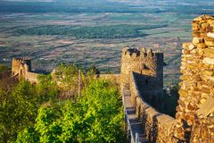 part of the city wall with fortified tower in historical town Signagi, Kakheti region, Georgia Stock Photography