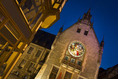 Part of the cityhall in Quedlinburg at night, Germany Stock Photography