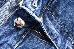 Part of classic jeans with button and zipper Stock Photography