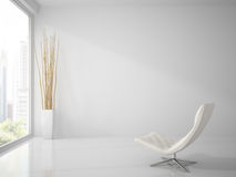 Part of  clean  white interior with white armchair 3D rendering Stock Photo