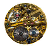 Part of clockwork with gears and ruby Royalty Free Stock Images