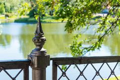 Part closeup of an ancient iron fence Royalty Free Stock Image