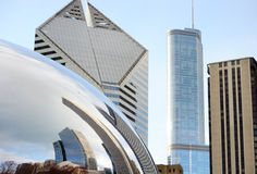 Part of Cloud Gate and Chicago skyline on April 23, 2015 in Chicago, Illinois. Cloud Gate is the artwork of Anish Kapoor Royalty Free Stock Photos