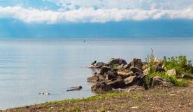 Part of coast on Leman lake. Part of lake Leman coast with the beautiful green park and many rocks. Lausanne Switzerland Stock Photo