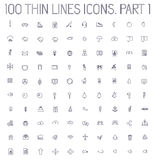 Part 2 of collection thin lines pictogram icon set Royalty Free Stock Image