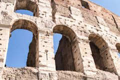 Part of the Colosseum in Rome with some arches in detail Stock Photography