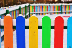 Part of Colourful vertical wooden fence Stock Photography