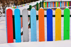 Part of Colourful vertical wooden fence Stock Image