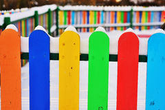 Part of Colourful vertical wooden fence Stock Images