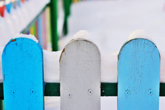 Part of Colourful vertical wooden fence Stock Photos