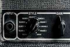 Part of the combo amplifier with sound controls and effects. Horizontal frame royalty free stock photography