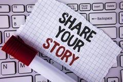 Part conceptuelle d'apparence d'écriture de main votre histoire Le texte de photo d'affaires indiquent les expériences personnell Image stock