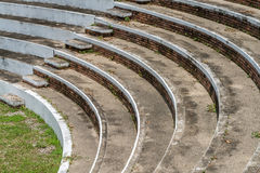 Part of concrete grandstand. Curve of old concrete grandstand royalty free stock images