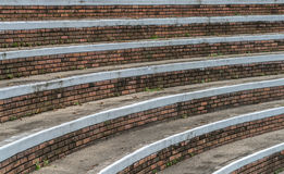 Part of concrete grandstand. Curve of old concrete grandstand stock photos