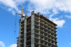 Part of concrete residential building under construction Royalty Free Stock Image