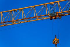 Part construction crane with blue sky. Background Stock Photo